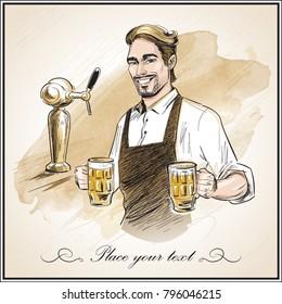 Smiling bartender holding beer.  Hand drawn vector illustration on artistic watercolor background.
