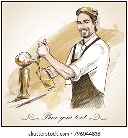 Smiling bartender pouring beer.  Hand drawn vector illustration on artistic watercolor background.