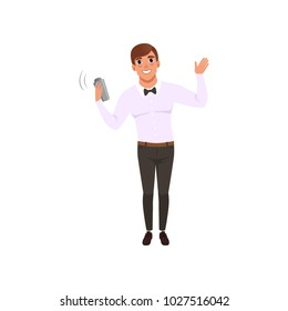 Smiling bartender shaking alcohol cocktail in shaker, barman character at work cartoon vector Illustration isolated on a white background