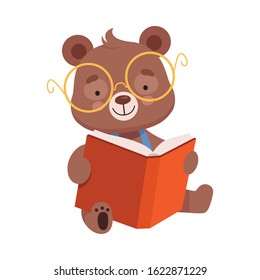 Smiling Bear Character Wearing Glasses Reading Book Vector Illustration