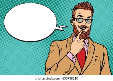 smiling bearded hipster businessman was up to something, a finger to her lips. Pop art retro vector illustration