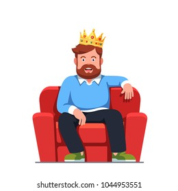 Smiling bearded man pretending to be a modern king wearing gold crown sitting on home arm chair throne. Egotistical fantasy of successful boss. Flat style isolated vector character illustration