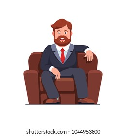 Smiling bearded man sitting on home arm chair. Fat couch potato person sprawled in cosy armchair. Flat style isolated vector character illustration
