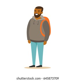 Smiling bearded young black man in a grey hoodie with backpack. Colorful cartoon character vector Illustration