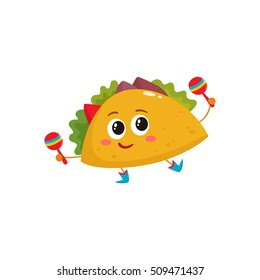 Smiling big eyed taco dancing and playing Mexican maracas, cartoon vector illustration isolated on white background. Humanized Mexican taco in cowboy boots playing shakers and having fun