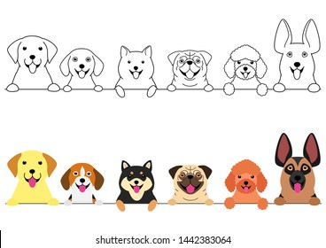 smiling big and small dogs border set