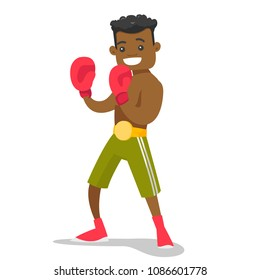 Smiling black boxer in red boxing gloves training during fitness workout. Male boxer exercising in boxing gloves. Vector cartoon illustration isolated on white background. Square layout.