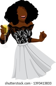 A smiling black woman celebrates New Year's  in a party dress and hat while holding a glass of champagne