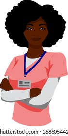 A smiling black woman nurse stands with arms crossed.
