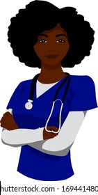 A smiling black woman nurse wearing a stethoscope stands with arms crossed.