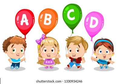 Smiling blond, brunette, redheaded boys and girls holding colorful balloons with letters ABCD. Concept of reading, writing education of kids, Cartoon illustration isolated on white background.