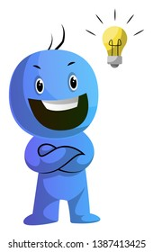 Smiling blue caracter with a lightbulb illustration vector on white background