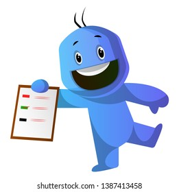 Smiling blue cartoon caracter with a notepad illustration vector on white background