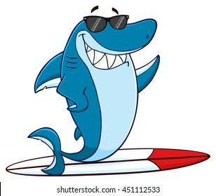 Smiling Blue Shark Cartoon Mascot Character With Sunglasses Surfing And Waving. Vector Illustration With Background