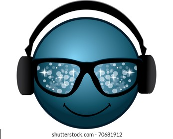 smiling blue smiley with glasses and headphones