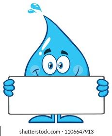 Smiling Blue Water Drop Cartoon Mascot Character Holding A Blank Sign. Vector Illustration Isolated On White Background