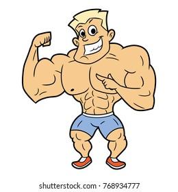 Smiling bodybuilder posing 2