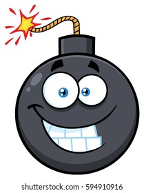 Smiling Bomb Face Cartoon Mascot Character With Expressions. Vector Illustration Isolated On White Background
