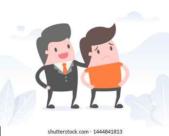 Smiling Boss Soothing Sad Employee, Empathy. Business Concept Illustration.