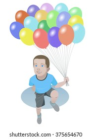 Smiling boy with color balloons