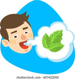 Smiling boy with fresh mint mouth breath. Isolated. On blue background.