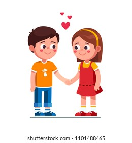 Smiling boy and girl kids holding hands and looking at each other with love. Kids couple and hearts. Children cartoon characters. Childhood, love and romance. Flat vector illustration
