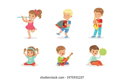 Smiling Boy and Girl Playing Flute and Saxophone Vector Set