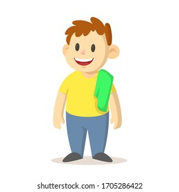 Smiling boy with a green towel over his shoulder, cartoon character design. Colorful flat vector illustration, isolated on white background.