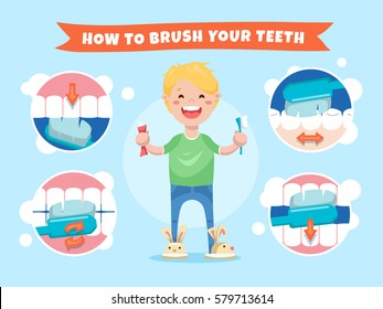 Smiling boy holding a toothbrush and toothpaste. How to brush your teeth. Instructions for children with infographics elements