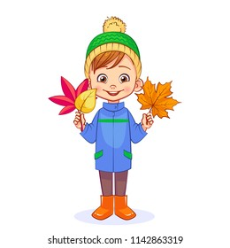 A smiling boy holds bright autumn leaves in his hands. Cutout vector cartoon kids character in full-length.