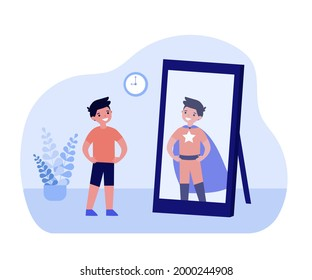Smiling boy looking in mirror and seeing superhero. Kid standing in front of mirror, child in superhero costume flat vector illustration. Childhood, imagination concept for banner, website design