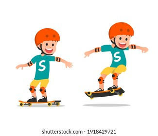A smiling boy playing with his skateboard