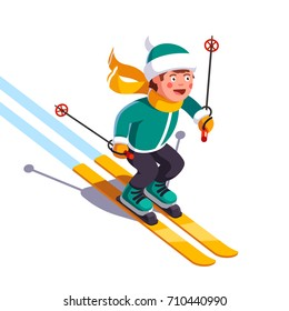Smiling boy skiing fast down the mountain. Winter sport and entertainment. Young skier wearing waving scarf having fun gliding on snow. Flat style vector illustration isolated on white background.