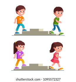 Smiling boys and girls walking up and down stairs. Children cartoon characters making steps on staircase set. Childhood and preschool development. Flat vector illustration isolated on white background