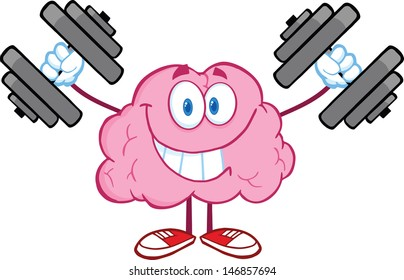 Smiling Brain Cartoon Character Training With Dumbbells. Vector Illustration