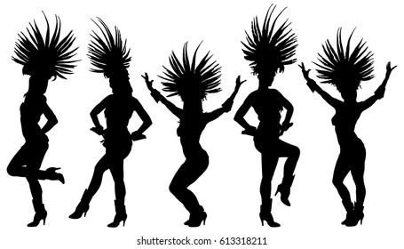 Smiling Brazil carnival dancer vector silhouette isolated on white background. Rio De Janeiro street carnival entertainment. Attractive lady in costume ball. Pretty woman sensual erotic dance.