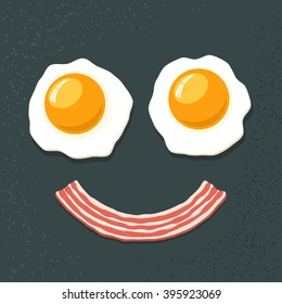 Smiling breakfast. Two fried eggs and bacon. Funny cartoon vector icon.