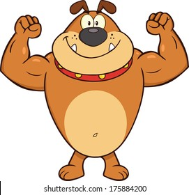 Smiling Brown Bulldog Cartoon Mascot Character Showing Muscle Arms. Vector Illustration Isolated on white