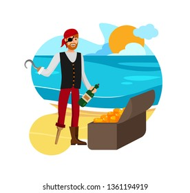 Smiling Buccaneer Found Loot Vector Illustration. Man in Eyepatch and Bandana Cartoon Character. Flibustier with Hand Hook Discovered Treasure. Successful Booty Hunt Celebration with Rum