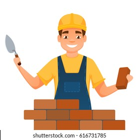 Smiling builder. Bricklayer in uniform isolated on white.