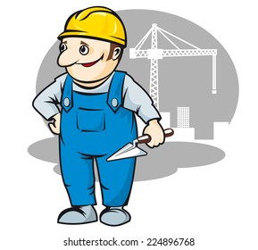 Smiling builder in cartoon style for construction industry design
