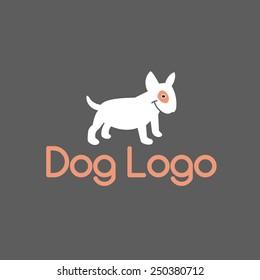 Smiling bullterrier. Abstract Dog Logo Design Template. Vector Illustration.