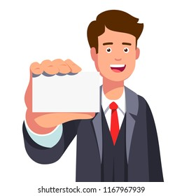 Smiling business man holding & showing blank business card with copy space. Happy successful company representative or agent introducing himself. Flat vector illustration isolated on white background