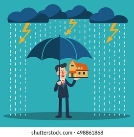 Smiling business man standing with umbrella under thunderstorm protecting house. Insurance, risk, crisis, financial problems, mortgages and banking service