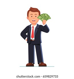 Smiling business man in suit standing holding fan of dollar cash showing money. Happy employee receiving a salary. Flat style vector illustration on white background.