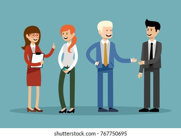 Smiling business people, office workers. Vector illustration