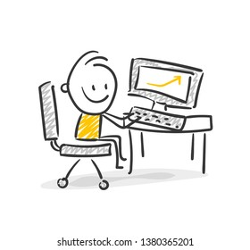 Smiling Business Stick Figure Computer Vector