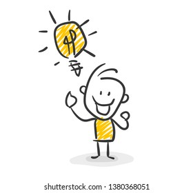 Smiling Business Stick Figure Has An Idea Vector Lightbulb