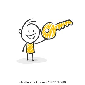 Smiling Business Stick Figure Holds A Key In His Hand Vector