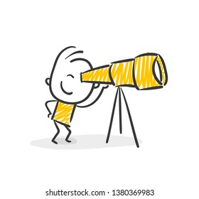 Smiling Business Stick Figure Looking Through Telescope Vector